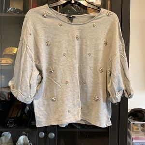 H&M grey sweater with rhinestone embroidery